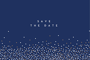 Save-the-date karten confetti blau