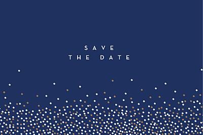 Save-the-Date Karten Confetti blau finition