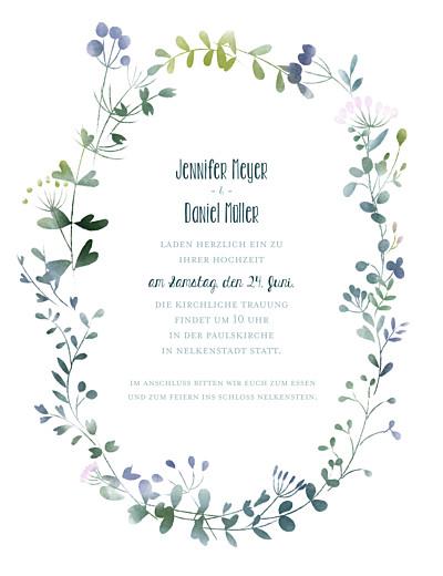 Hochzeitseinladung Wildblumen (hoch) rosa finition