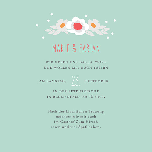 Hochzeitseinladungen Eden (klappkarte) grün - Seite 3