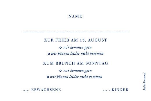 Antwortkarte Hochzeit Naturnah (gold) blau - Seite 2