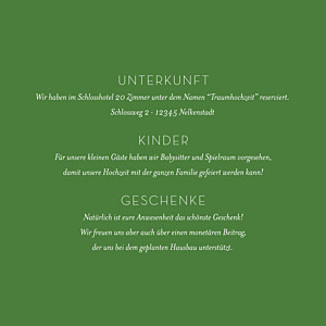 Beilegekarte Waldgeflüster grün