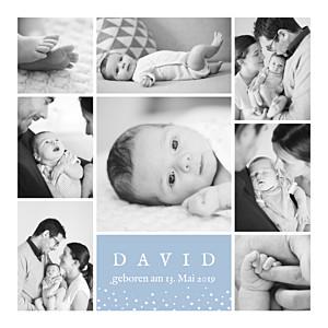 Geburtskarten junge erinnerung sterne 8 fotos blau