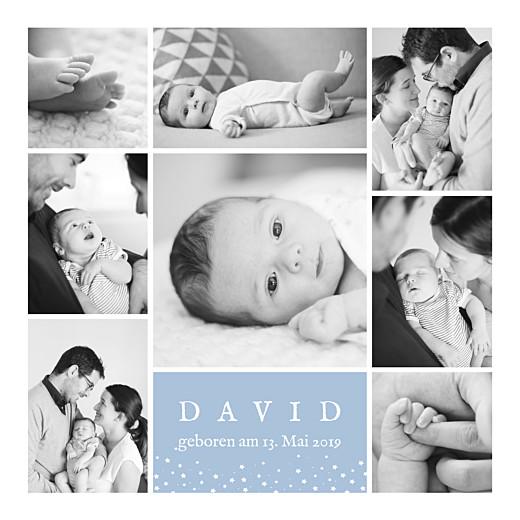Geburtskarte Erinnerung sterne 8 fotos blau