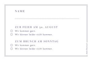 Antwortkarte Hochzeit Sonett sand & blau violett