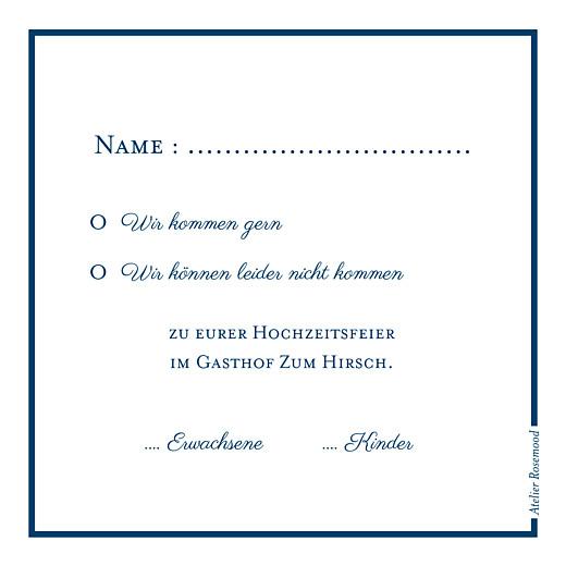 Antwortkarte Hochzeit Carré chic blau - Seite 2