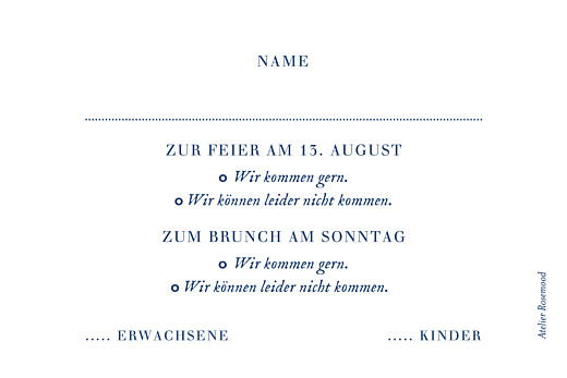 Antwortkarte Hochzeit Naturnah bleu - Seite 2