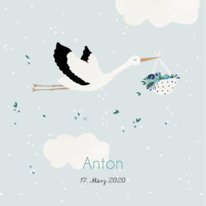 Geburtskarte Storch blau