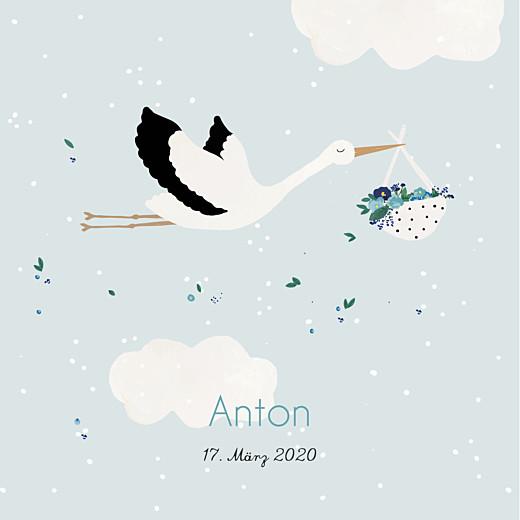 Geburtskarten Storch blau