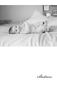 Geburtskarten grau band 1 foto hoch weiß