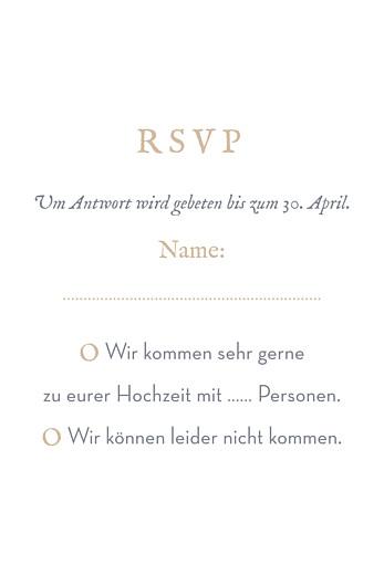 Antwortkarte Hochzeit Schleier (hoch) grau