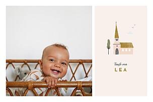 Taufeinladung mädchen kleine kirche rosa