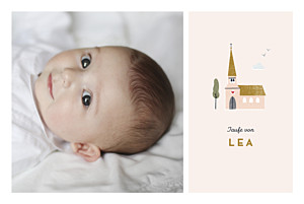 Taufeinladung mit foto kleine kirche rosa