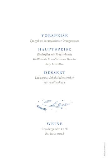 Menükarten Taufe Liebliches blattwerk blau - Seite 2