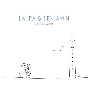 Hochzeitseinladungen marion bizet hochzeit am leuchtturm blau