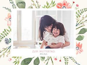Poster klein Blumen aquarell muttertag beige