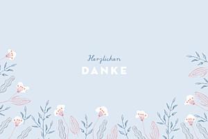 Mini Dankeskarten Freudenflug blau