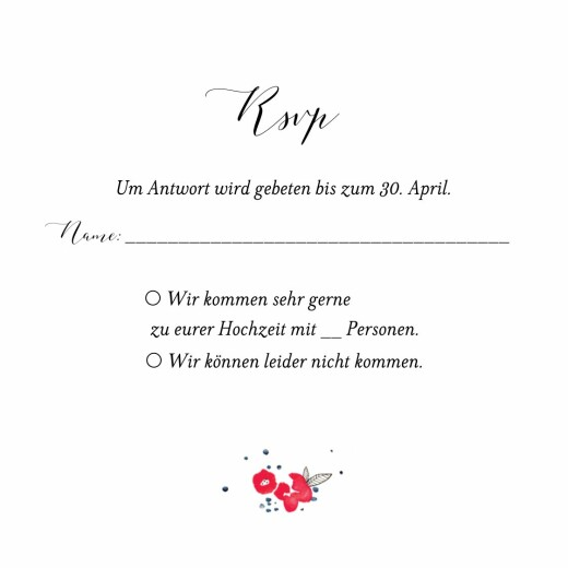 Antwortkarte Hochzeit Blütezeit weiß