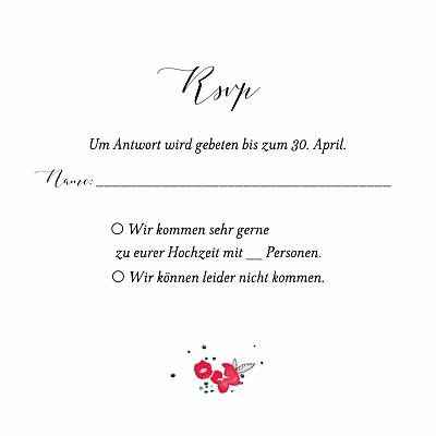 Antwortkarte Hochzeit Blütezeit weiß finition