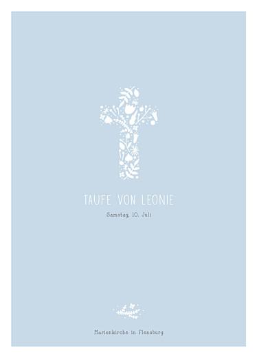 Kirchenheft Taufe Blumenkreuz blau