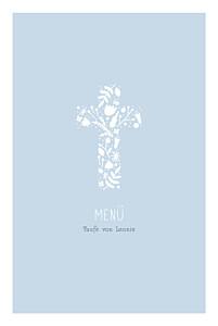 Menükarten Taufe Blumenkreuz blau
