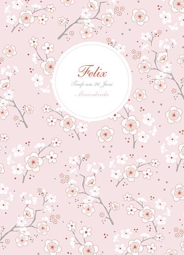 Kirchenheft Taufe Kirschblüten rosa