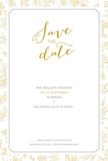 Save-the-Date Karten Feine blätter gelb
