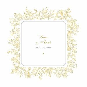Hochzeitseinladungen gelb feine blätter gelb