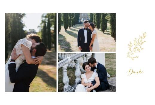 Dankeskarten Hochzeit Feine blätter gelb
