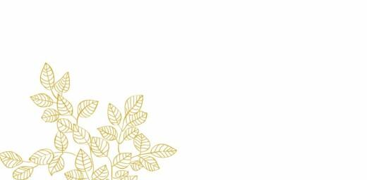 Platzkarte Feine blätter gelb