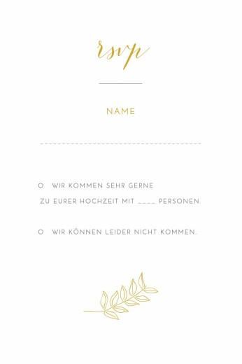 Antwortkarte Hochzeit Feine blätter gelb