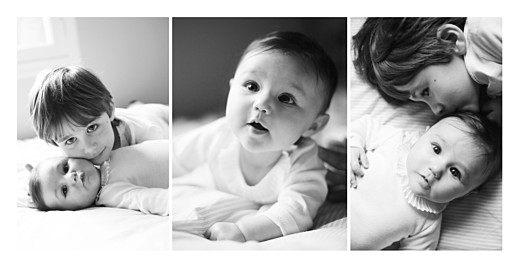 Geburtskarten 3 fotos panorama lang weiß