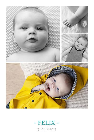Geburtskarten 4 fotos weiss finition
