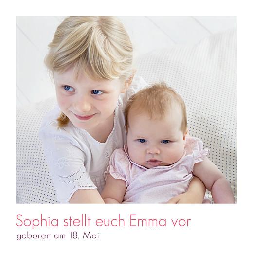 Geburtskarten Einfach 2 fotos weiß