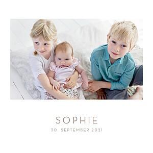 Geburtskarten weiß elegant 4 fotos weiß