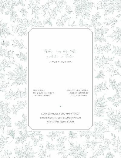 Hochzeitseinladung Feine blätter hoch grün
