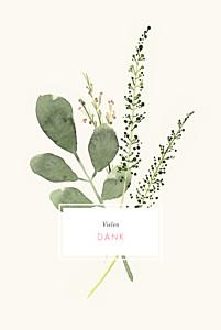 Dankeskarten Hochzeit Blumen aquarell beige