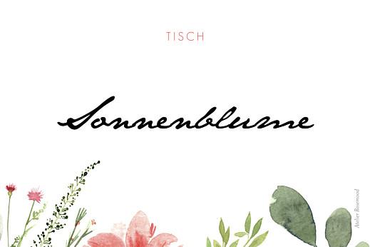 Tischkarten Hochzeit Blumen aquarell beige