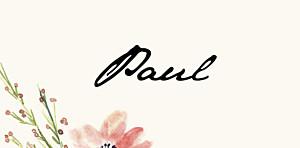 Platzkarte Blumen aquarell beige