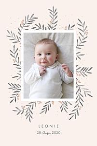 Geburtskarten mädchen kleine zweige hoch rosa