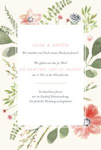 Hochzeitseinladungen Blumen aquarell hoch beige