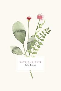 Save-the-date karten mit foto blumen aquarell beige