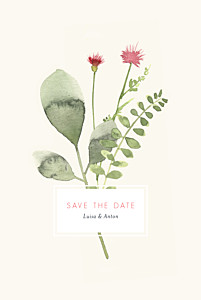 Save-the-date karten blumen aquarell beige