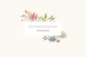 Antwortkarte Hochzeit Blumen aquarell beige