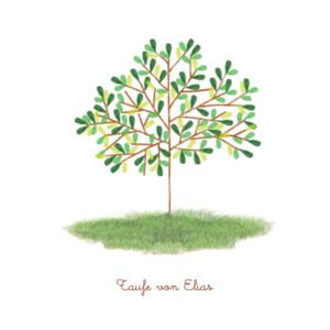 Taufeinladung Baum grün