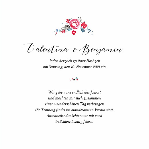 Hochzeitseinladung Blütezeit weiß