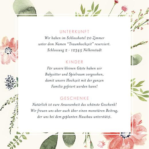 Beilegekarte Blumen aquarell beige