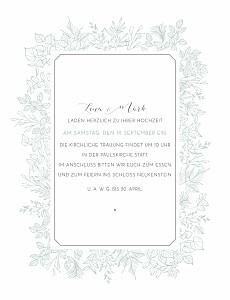 Hochzeitseinladungen feine blätter hoch grün