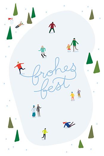 Weihnachtskarten geschäftlich Winterspaß (klappkarte) blau