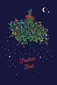 Weihnachtskarten geschäftlich mistelzweig (klappkarte) blau